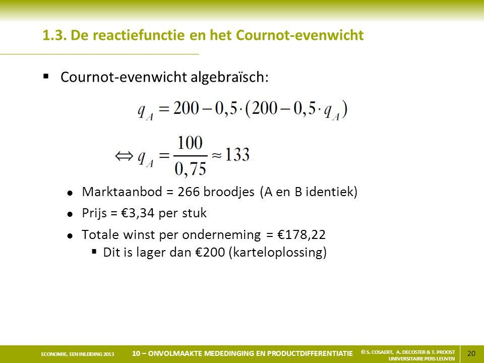 1.3. De reactiefunctie en het Cournot-evenwicht