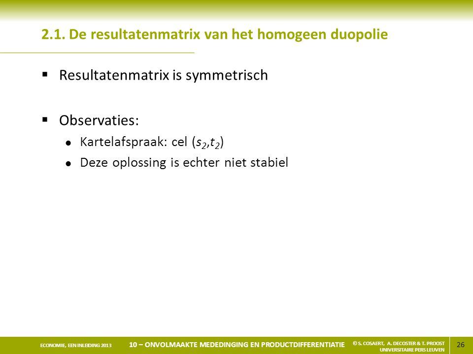 2.1. De resultatenmatrix van het homogeen duopolie
