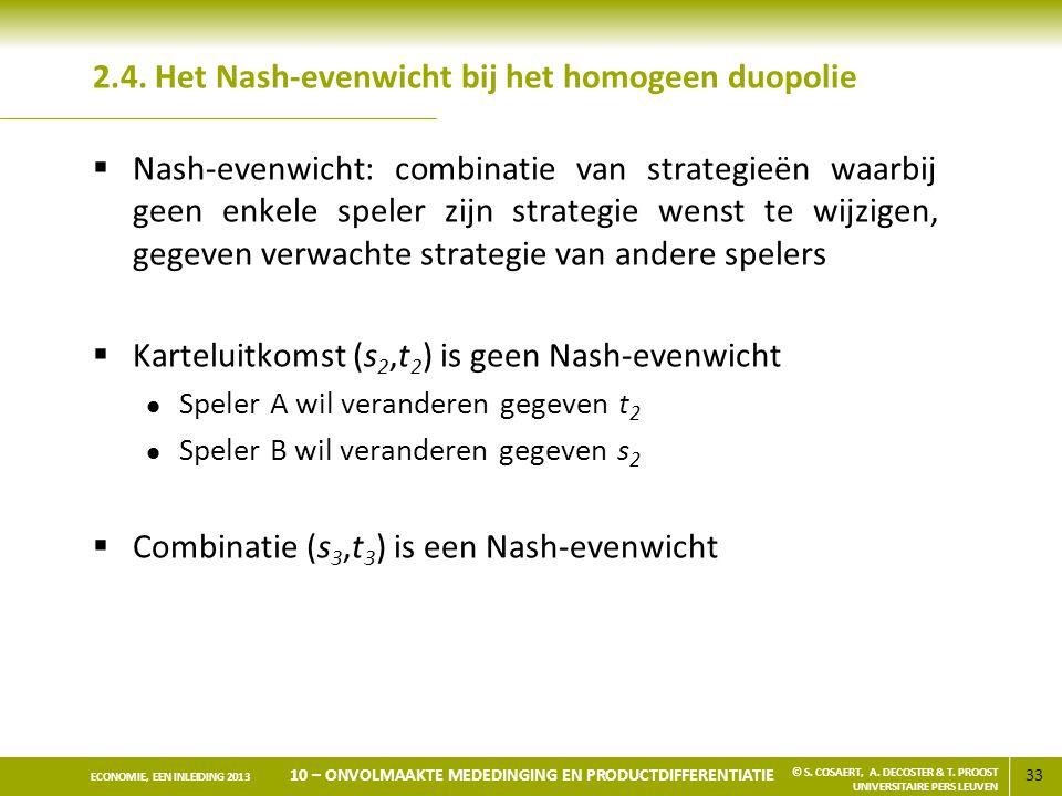 2.4. Het Nash-evenwicht bij het homogeen duopolie