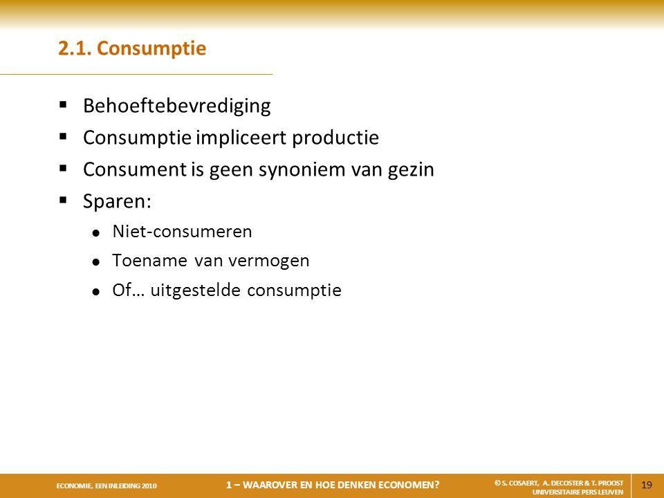 Consumptie impliceert productie Consument is geen synoniem van gezin