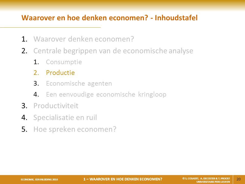 Waarover en hoe denken economen - Inhoudstafel