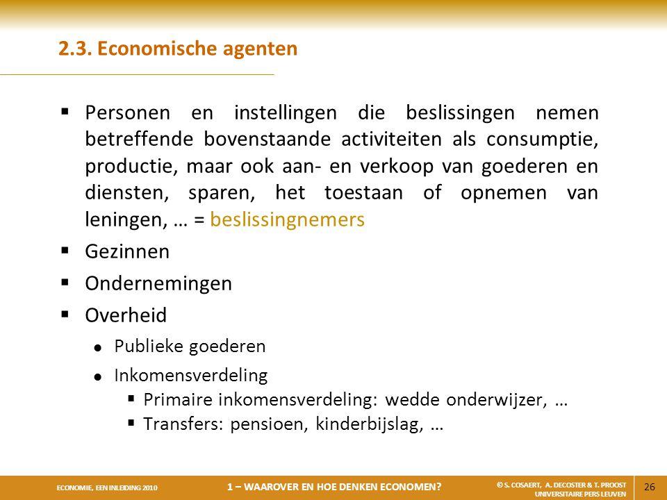 2.3. Economische agenten
