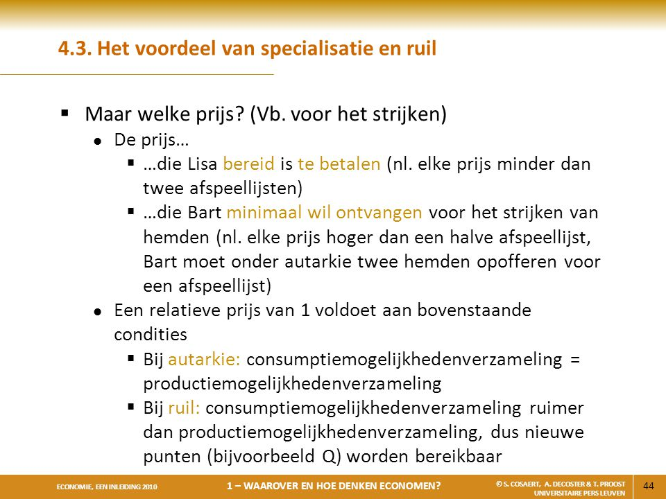 4.3. Het voordeel van specialisatie en ruil
