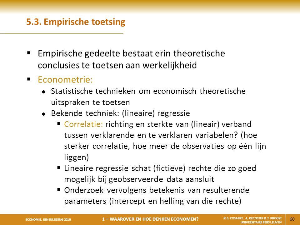 5.3. Empirische toetsing Empirische gedeelte bestaat erin theoretische conclusies te toetsen aan werkelijkheid.
