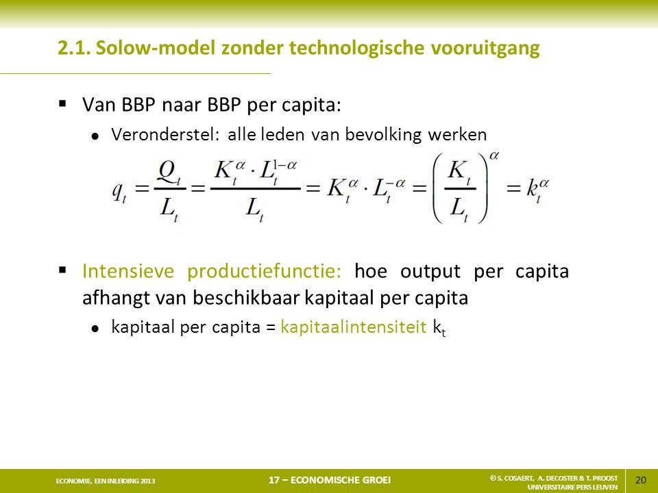 2.1. Solow-model zonder technologische vooruitgang