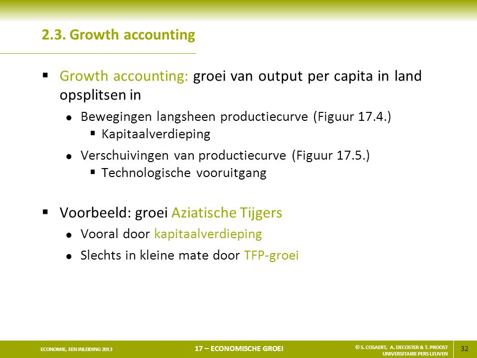 Growth accounting: groei van output per capita in land opsplitsen in