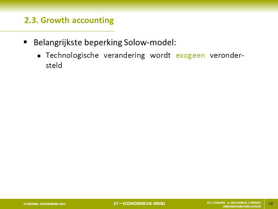Belangrijkste beperking Solow-model: