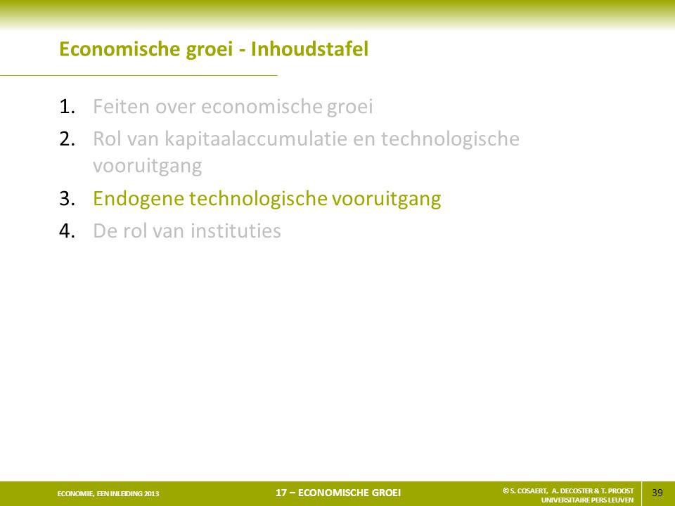 Economische groei - Inhoudstafel