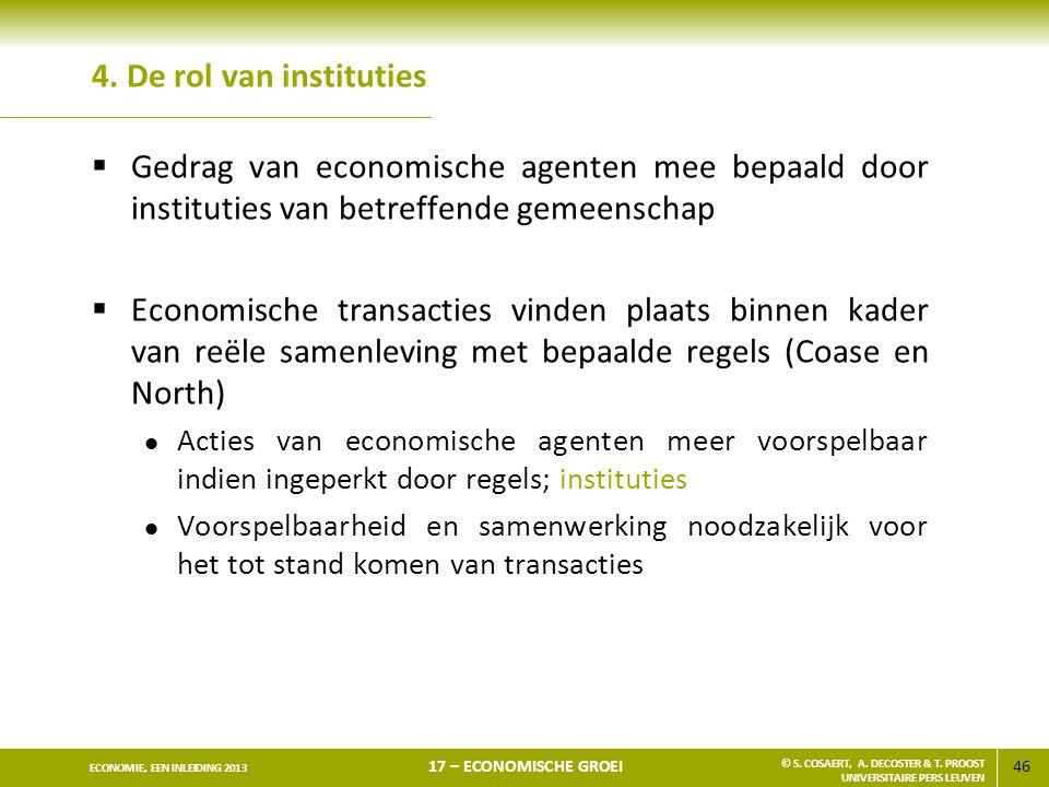4. De rol van instituties Gedrag van economische agenten mee bepaald door instituties van betreffende gemeenschap.