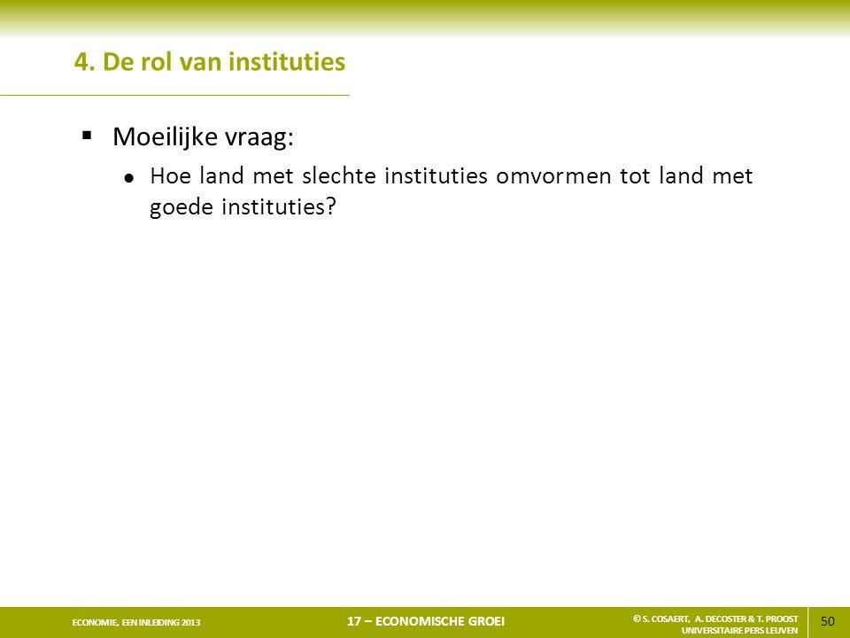 4. De rol van instituties Moeilijke vraag:
