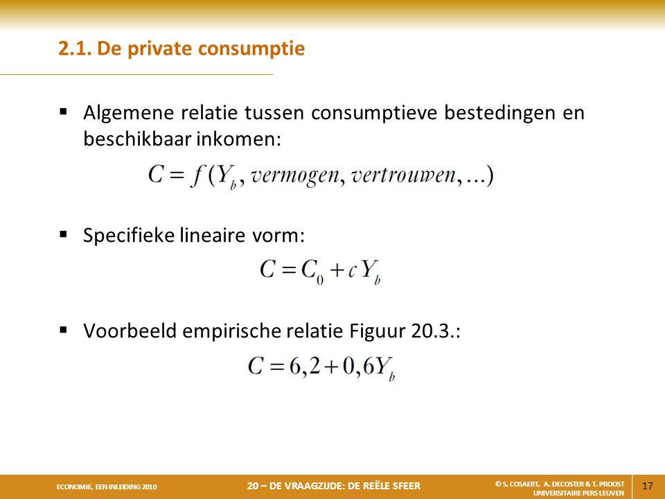 2.1. De private consumptie Algemene relatie tussen consumptieve bestedingen en beschikbaar inkomen: