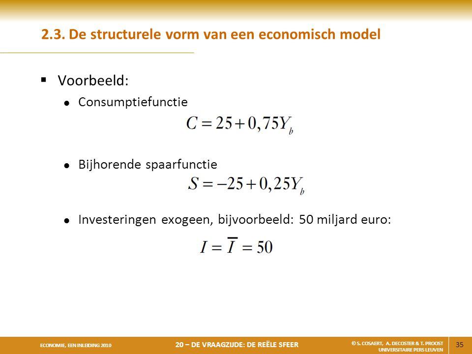 2.3. De structurele vorm van een economisch model