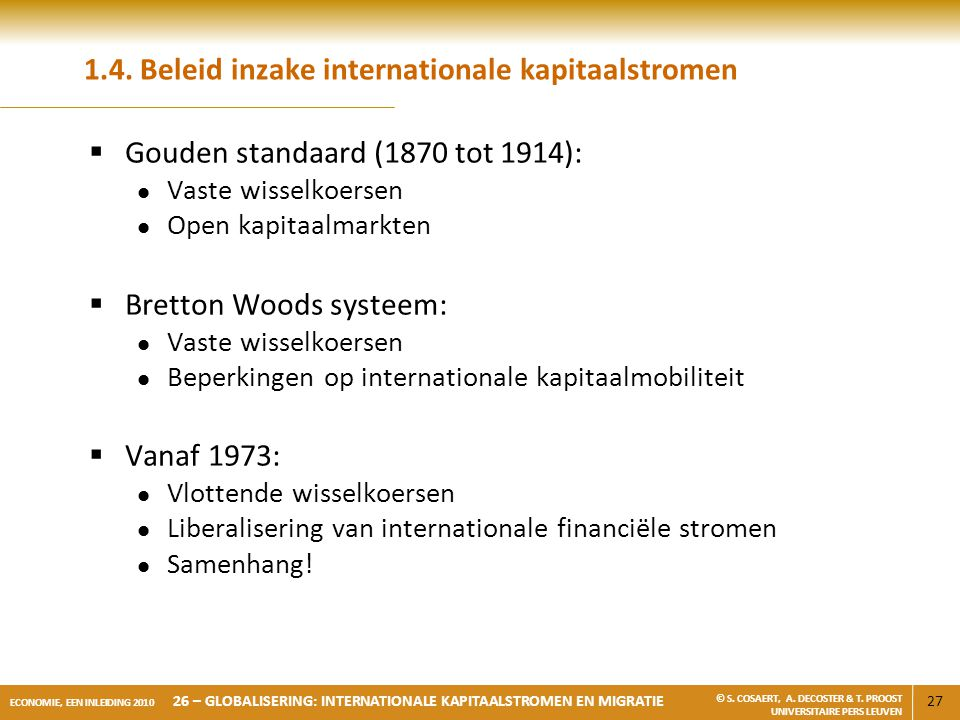 1.4. Beleid inzake internationale kapitaalstromen
