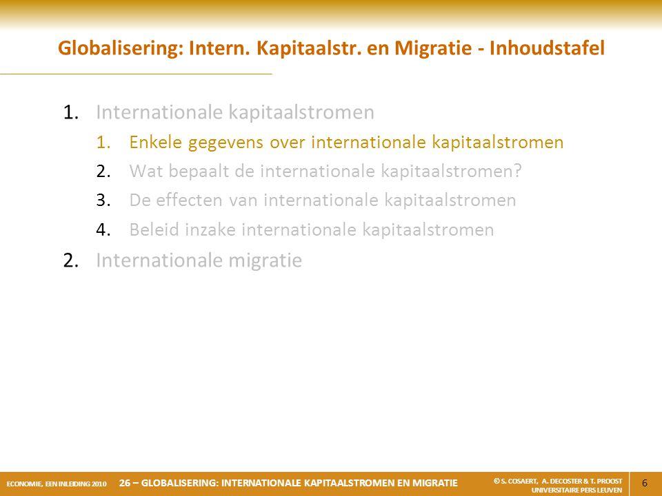 Globalisering: Intern. Kapitaalstr. en Migratie - Inhoudstafel