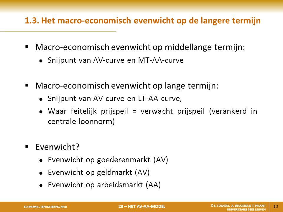1.3. Het macro-economisch evenwicht op de langere termijn