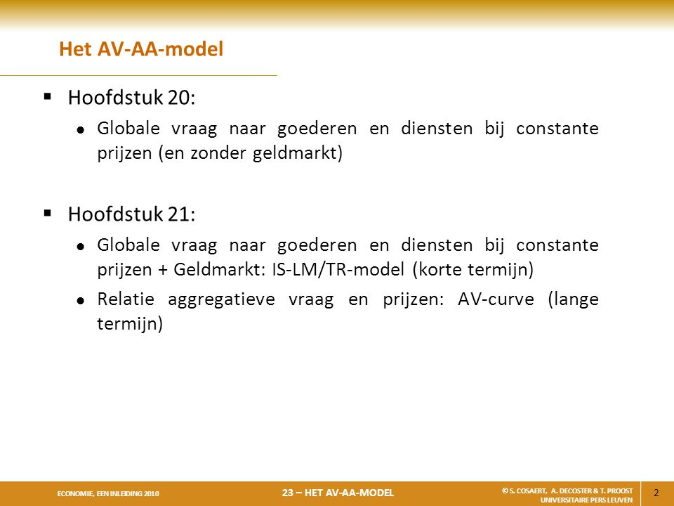 Het AV-AA-model Hoofdstuk 20: Hoofdstuk 21: