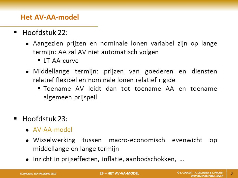 Het AV-AA-model Hoofdstuk 22: Hoofdstuk 23: