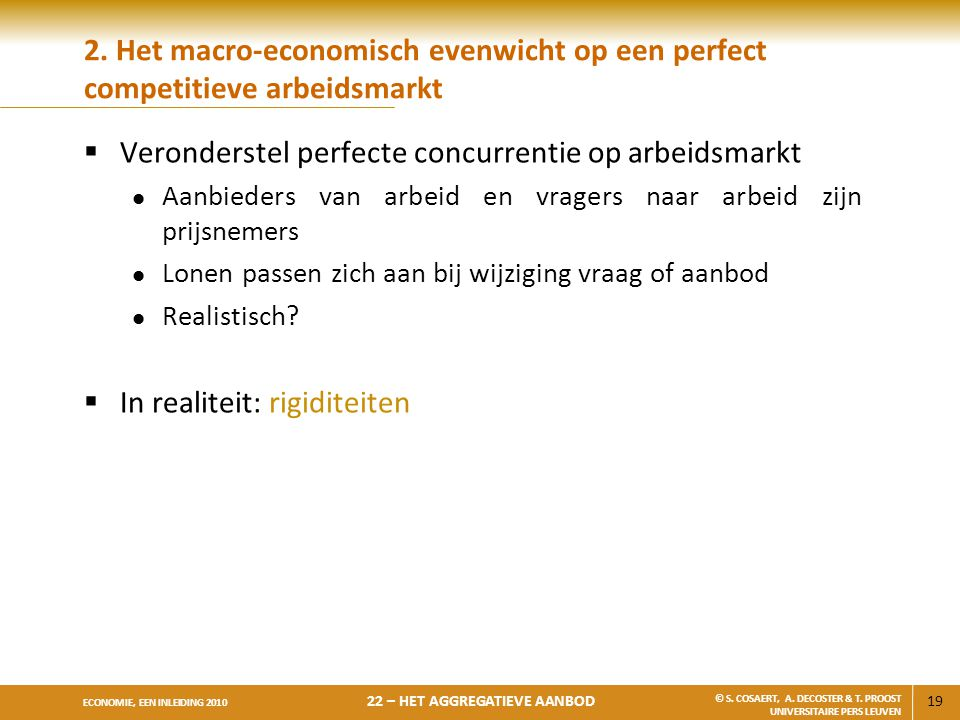 Veronderstel perfecte concurrentie op arbeidsmarkt