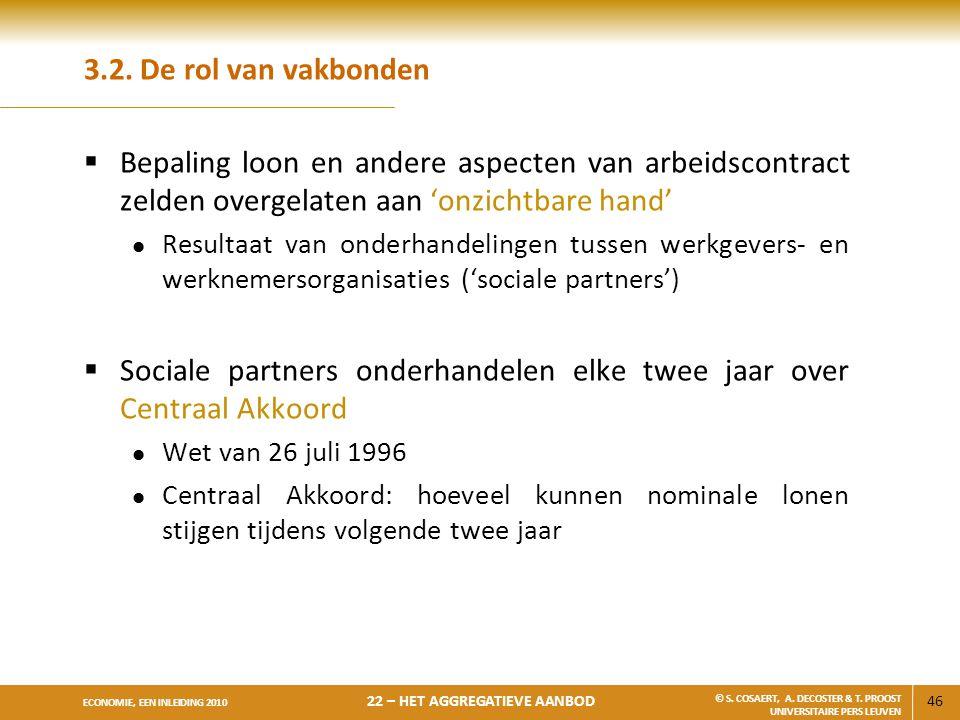 Sociale partners onderhandelen elke twee jaar over Centraal Akkoord
