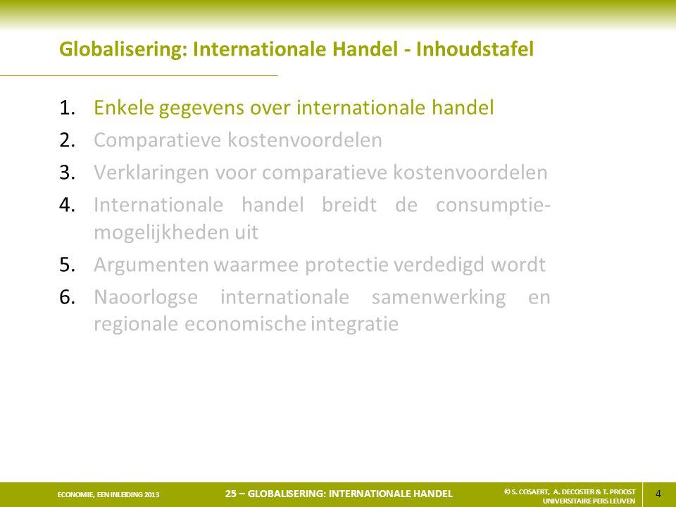 Globalisering: Internationale Handel - Inhoudstafel