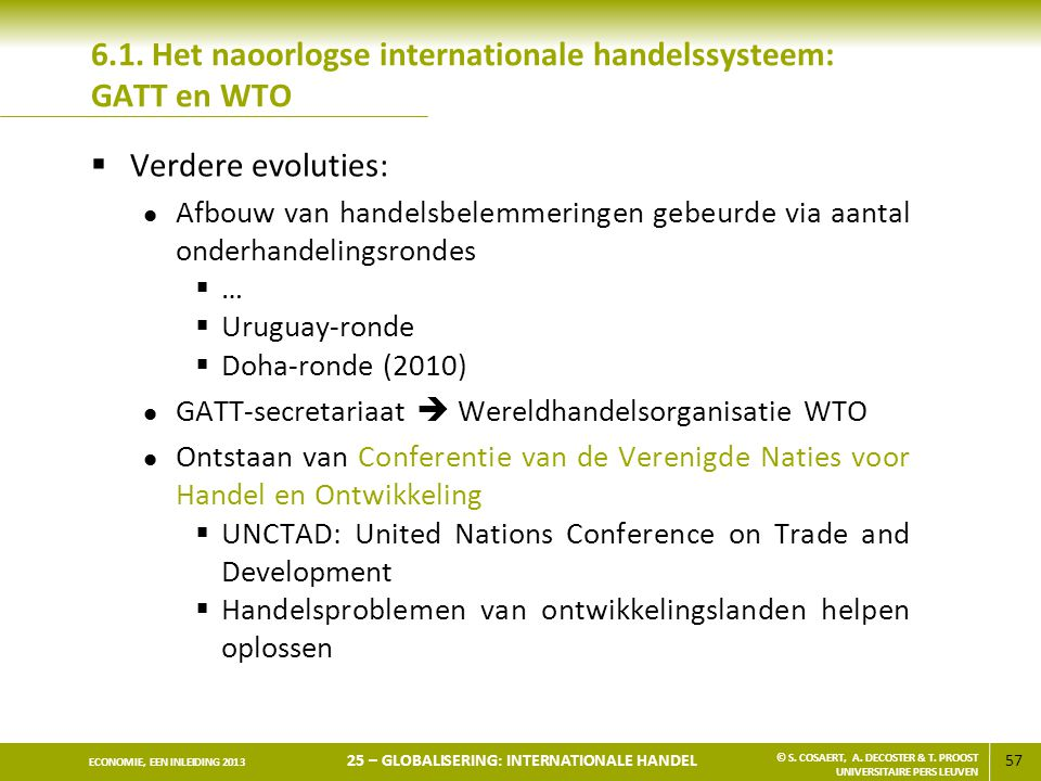 6.1. Het naoorlogse internationale handelssysteem: GATT en WTO