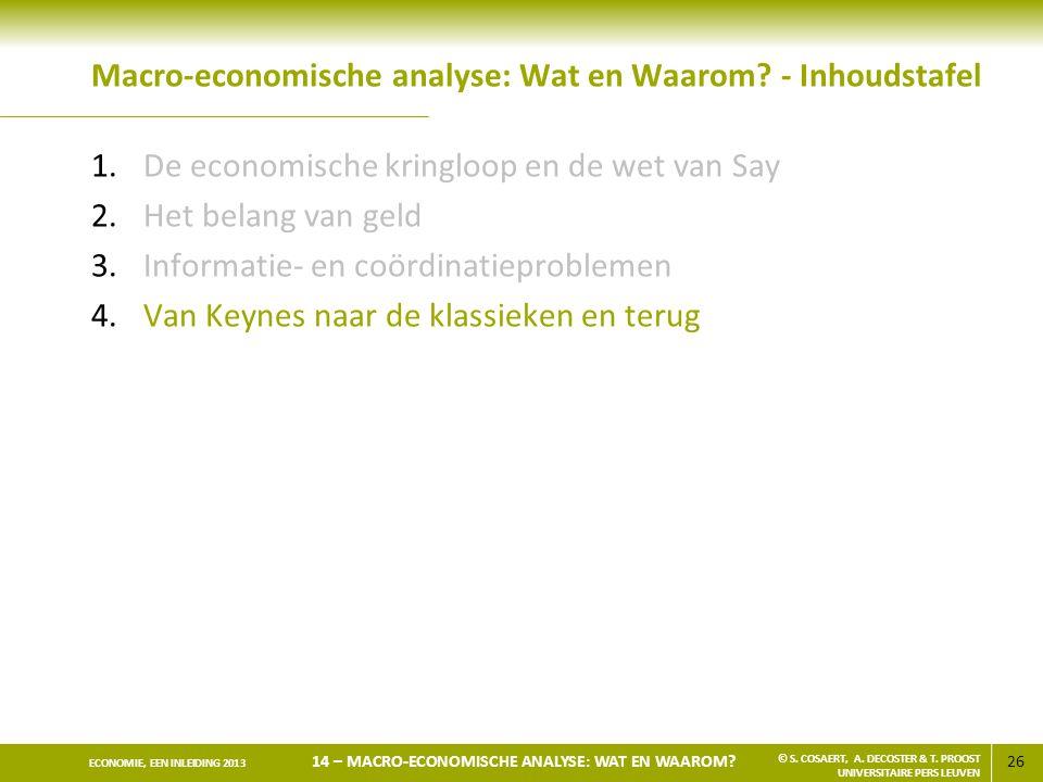 Macro-economische analyse: Wat en Waarom - Inhoudstafel