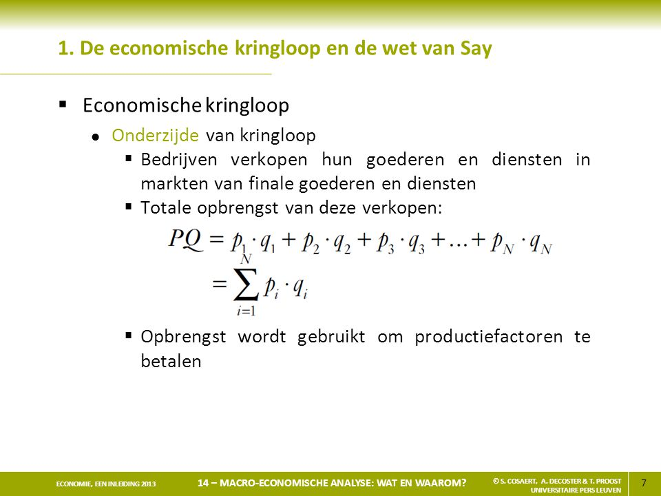 1. De economische kringloop en de wet van Say