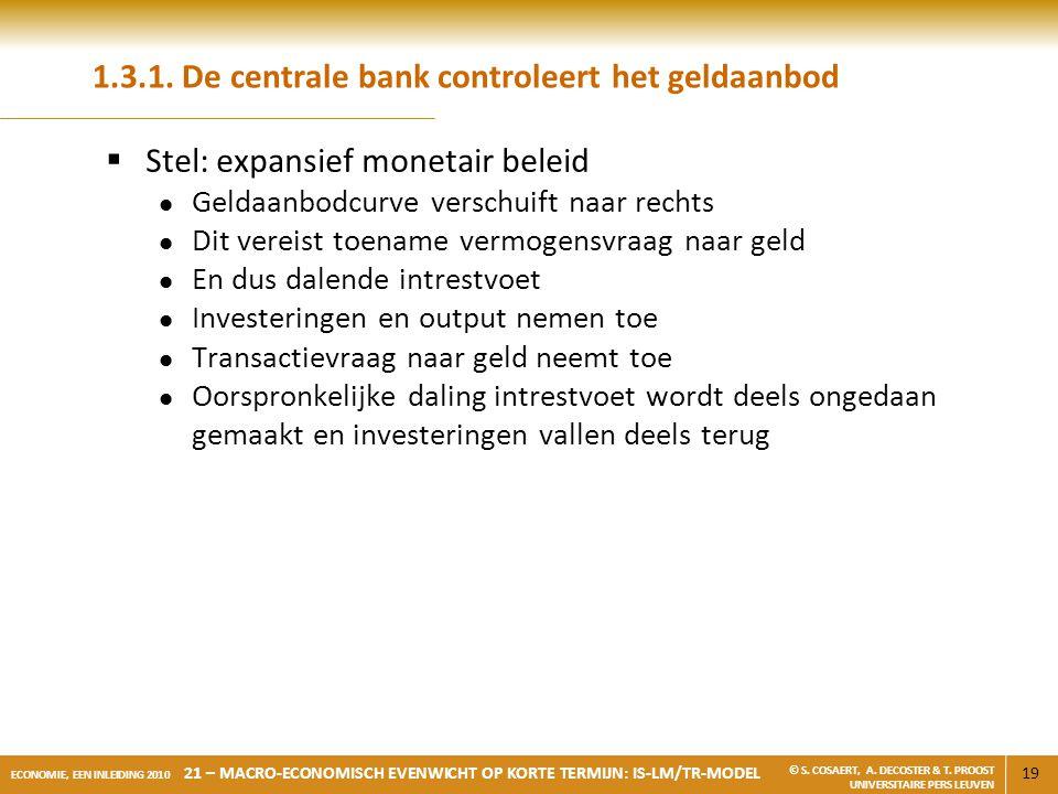 1.3.1. De centrale bank controleert het geldaanbod