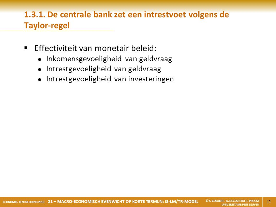 1.3.1. De centrale bank zet een intrestvoet volgens de Taylor-regel
