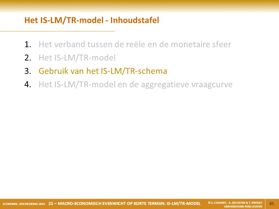 Het IS-LM/TR-model - Inhoudstafel