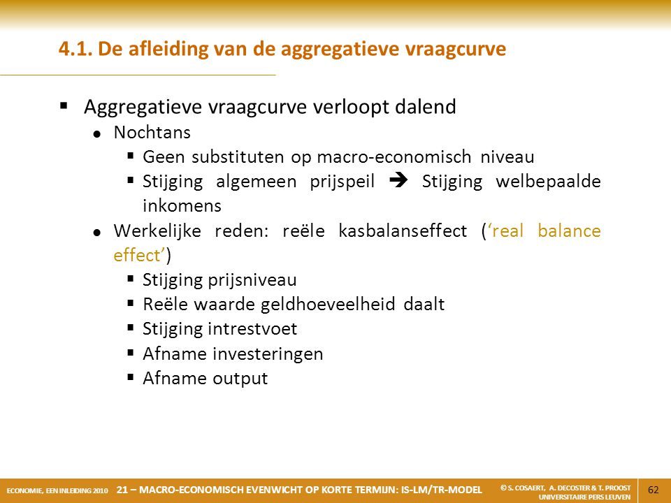 4.1. De afleiding van de aggregatieve vraagcurve