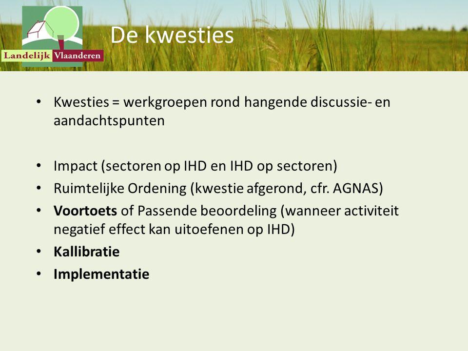 De kwesties Kwesties = werkgroepen rond hangende discussie- en aandachtspunten. Impact (sectoren op IHD en IHD op sectoren)