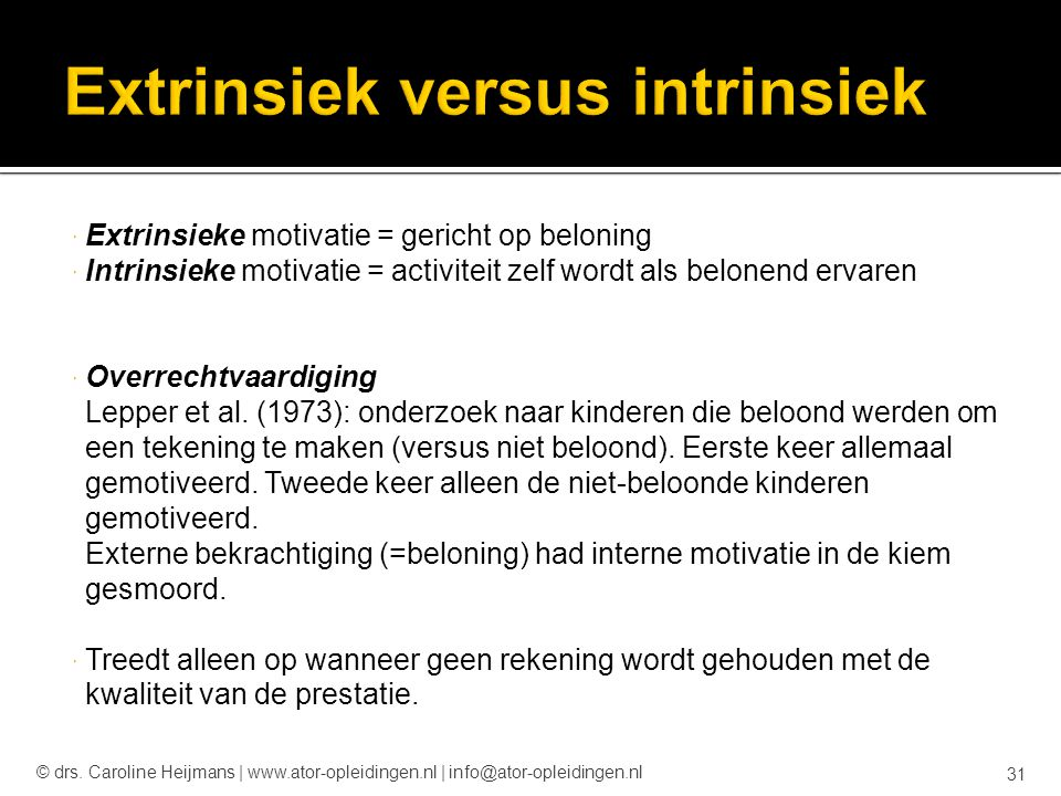 Extrinsiek versus intrinsiek