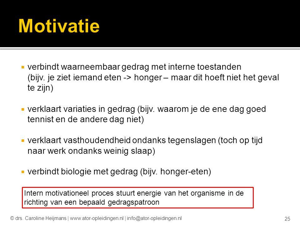 Motivatie verbindt waarneembaar gedrag met interne toestanden (bijv. je ziet iemand eten -> honger – maar dit hoeft niet het geval te zijn)