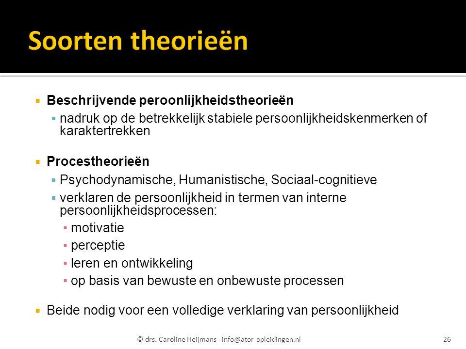 Soorten theorieën Beschrijvende peroonlijkheidstheorieën