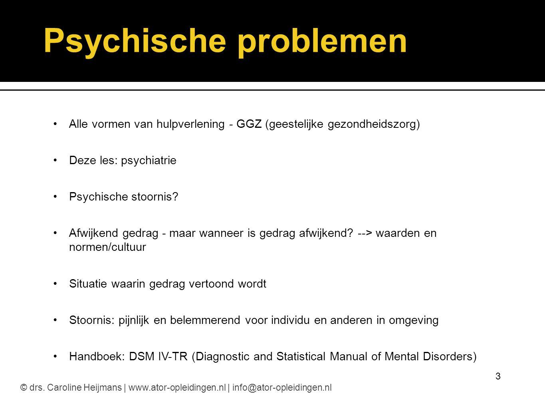 Psychische problemen Alle vormen van hulpverlening - GGZ (geestelijke gezondheidszorg) Deze les: psychiatrie.