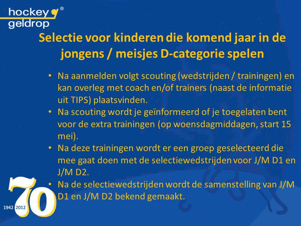 Selectie voor kinderen die komend jaar in de jongens / meisjes D-categorie spelen