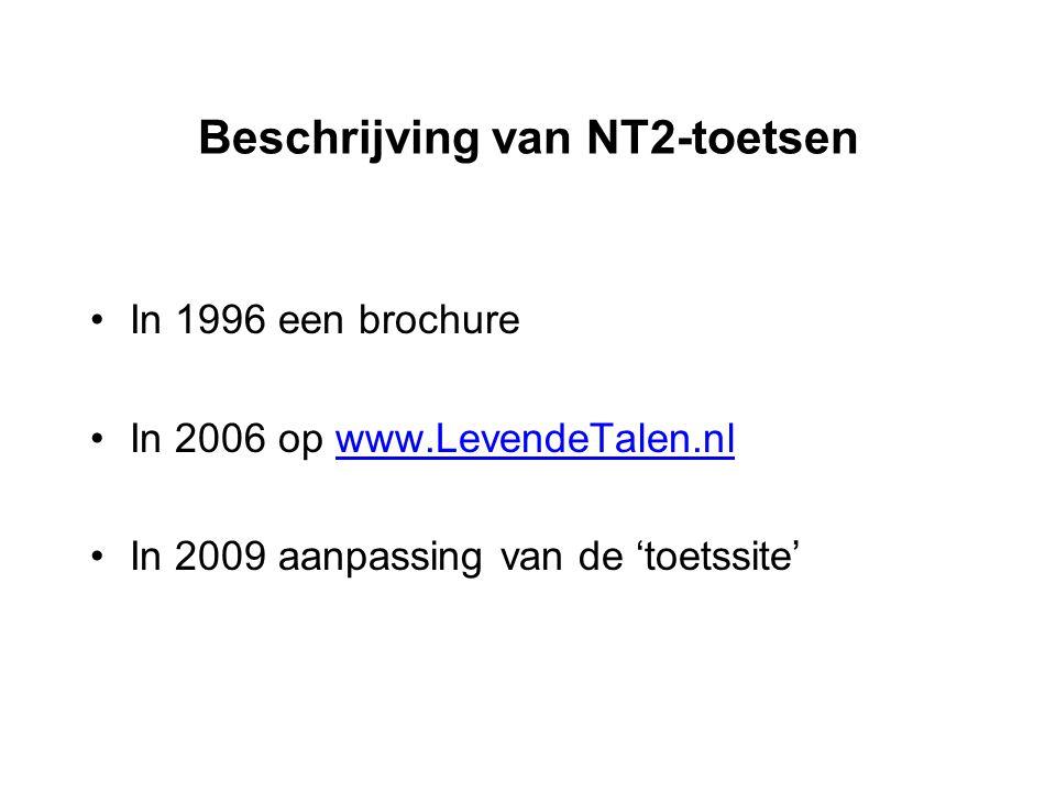 Beschrijving van NT2-toetsen