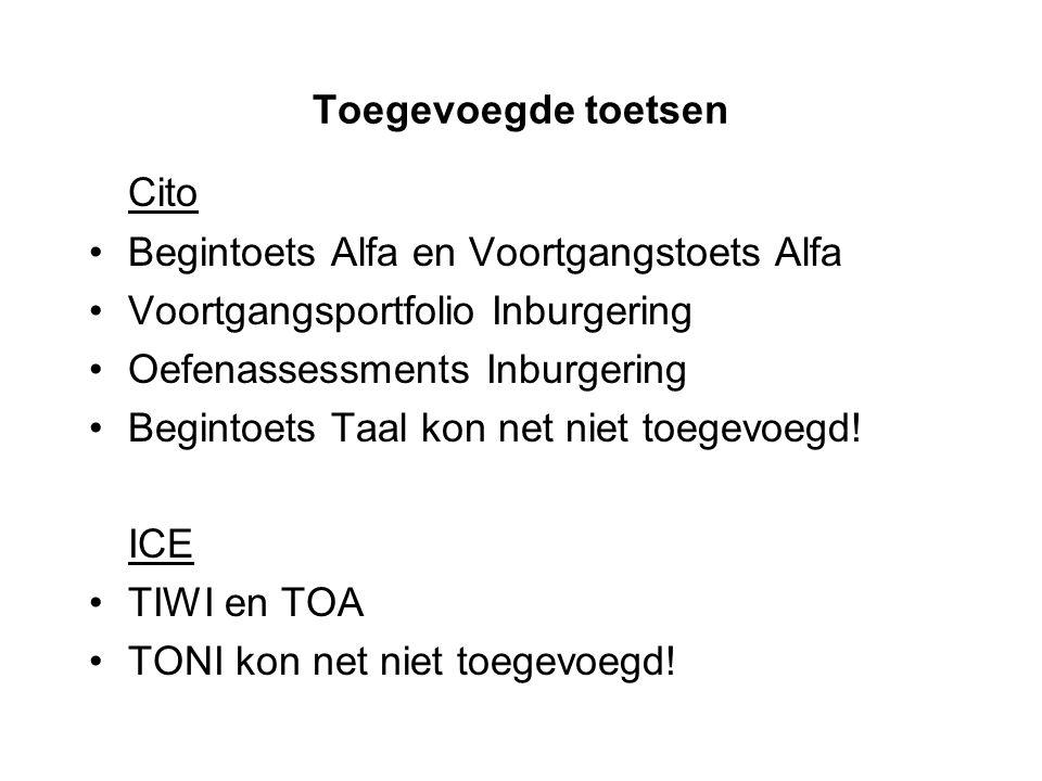 Cito Toegevoegde toetsen Begintoets Alfa en Voortgangstoets Alfa
