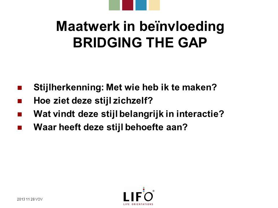 Maatwerk in beïnvloeding BRIDGING THE GAP
