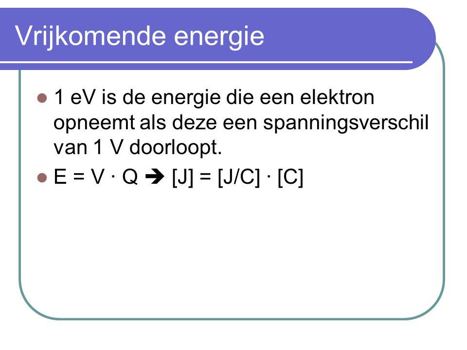 Vrijkomende energie 1 eV is de energie die een elektron opneemt als deze een spanningsverschil van 1 V doorloopt.
