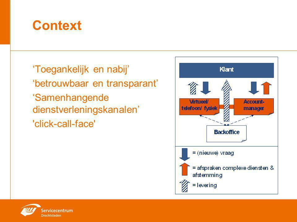 Context 'Toegankelijk en nabij' 'betrouwbaar en transparant'