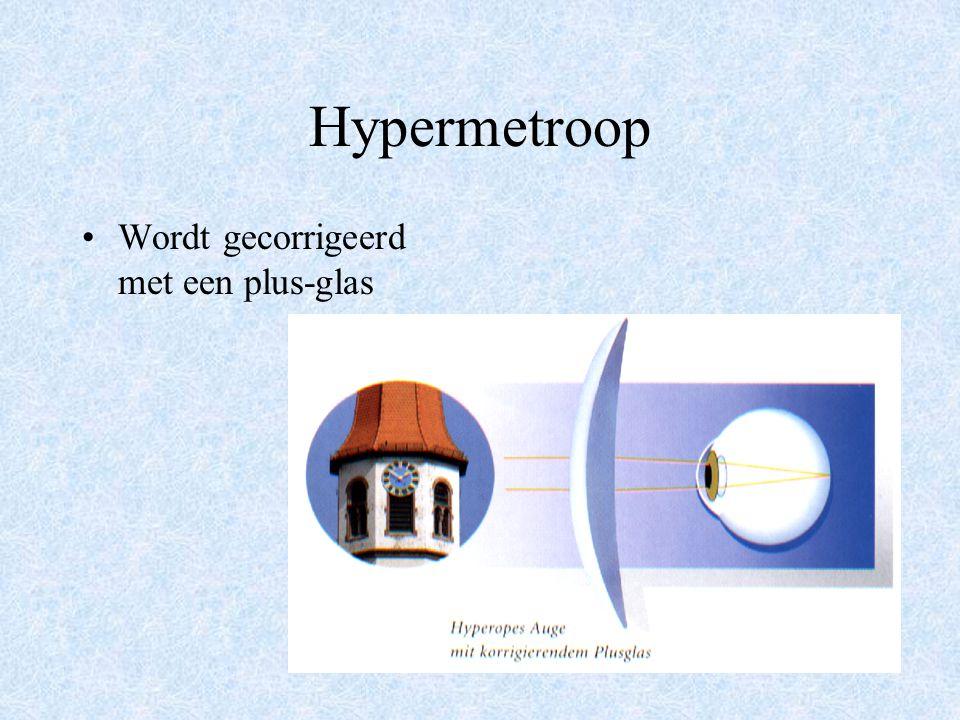 Hypermetroop Wordt gecorrigeerd met een plus-glas