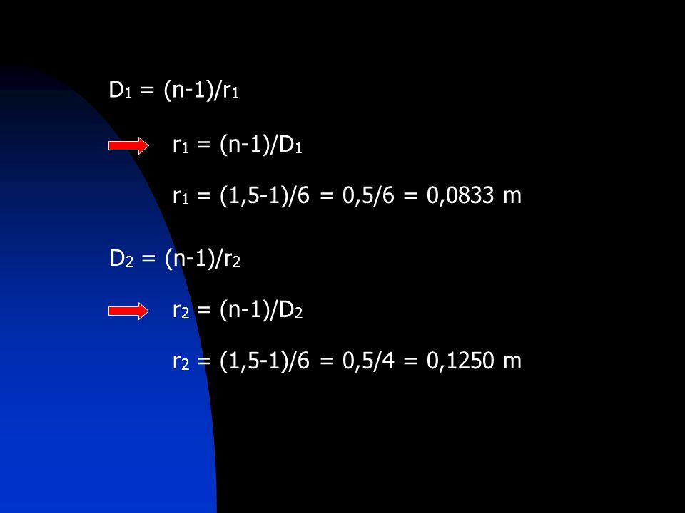 D1 = (n-1)/r1 r1 = (n-1)/D1. r1 = (1,5-1)/6 = 0,5/6 = 0,0833 m.