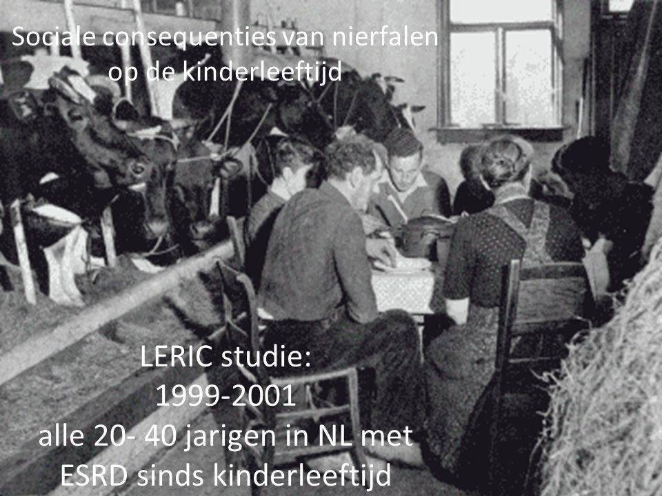 Sociale consequenties van nierfalen op de kinderleeftijd LERIC studie: 1999-2001 alle 20- 40 jarigen in NL met ESRD sinds kinderleeftijd