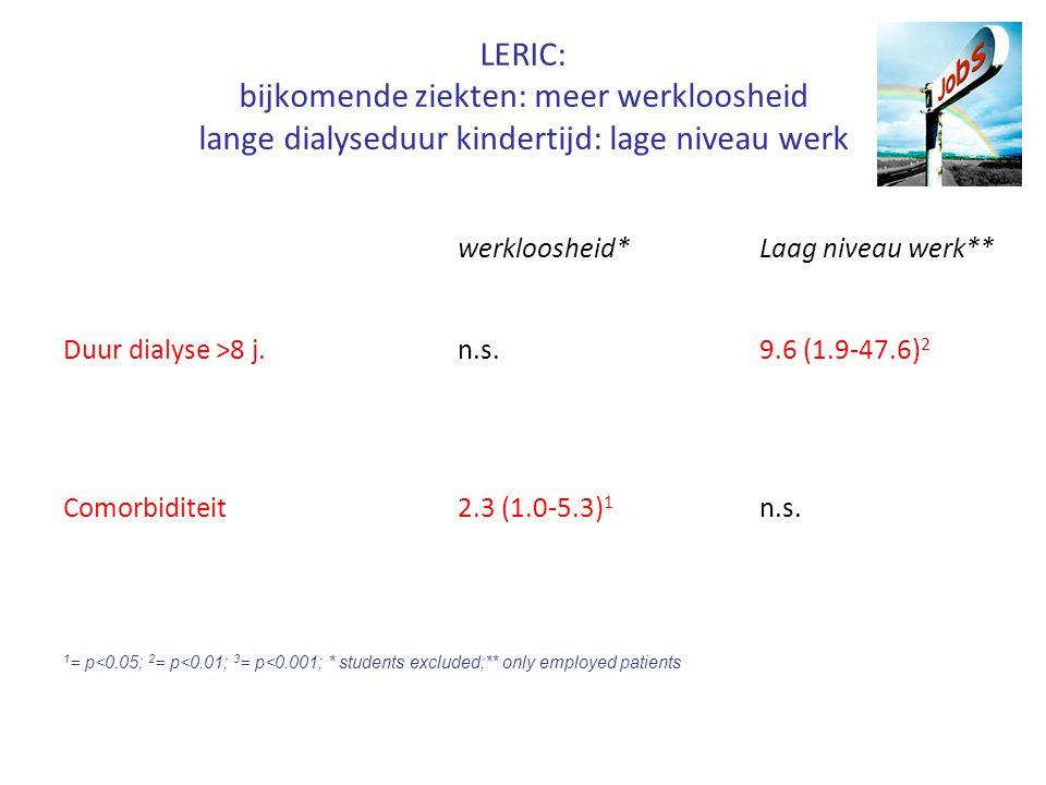 LERIC: bijkomende ziekten: meer werkloosheid lange dialyseduur kindertijd: lage niveau werk
