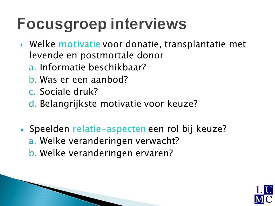Focusgroep interviews