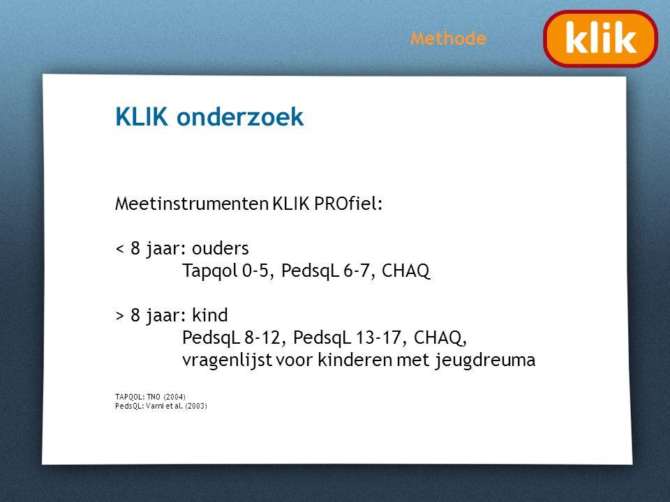 KLIK onderzoek Methode Meetinstrumenten KLIK PROfiel: