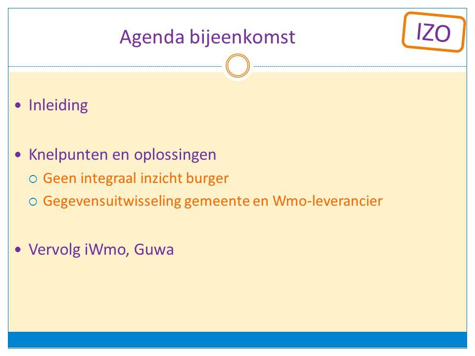 Agenda bijeenkomst Inleiding Knelpunten en oplossingen