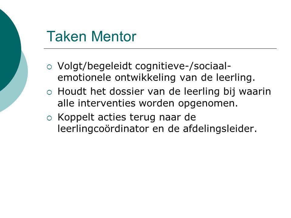 Taken Mentor Volgt/begeleidt cognitieve-/sociaal-emotionele ontwikkeling van de leerling.